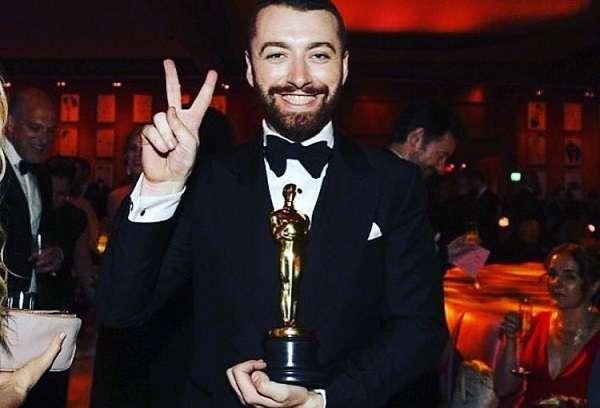 Sam Smith with his Oscar