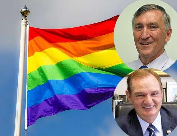 Rainbow Flag For IDAHOT - Mayor Greg Christensen and Mayor Paul Pisasale