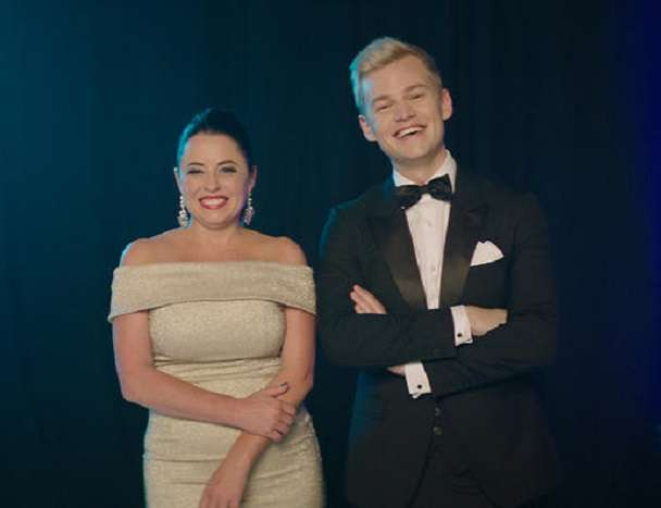 Myf Warhurst and comedian Joel Creasey Eurovision
