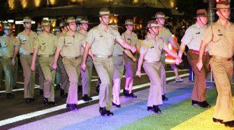 Australian Defence Force troops march in Mardi Gras