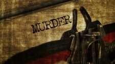 Stock photo of typewriter typing the word murder