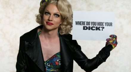 Courtney Act appearing on ABC series You can't ask that, interviewing a group of australian drag queens