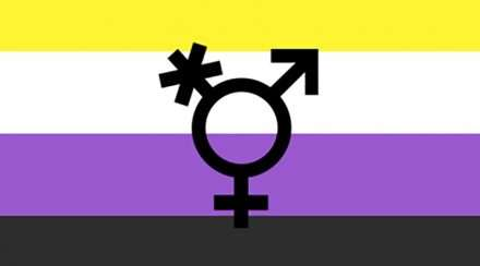 The non-binary flag, a stock photo