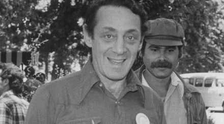 Historical photo of US gay activist Harvey Milk