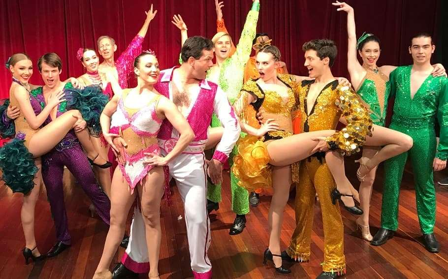 The cast of Ipswich Musical Theatre Company's production of Baz Luhrmann's musical Strictly Ballroom