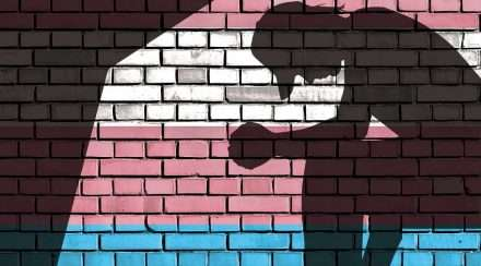 Silhouette of a sad person against a brick wall coloured pink white and blue of the transgender flag