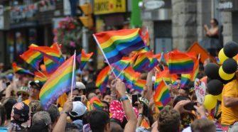 rainbow flags at pride parade