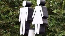 male female restroom toilet sign stock photo