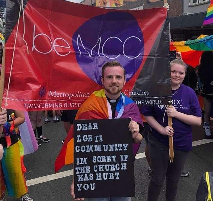 MCC Brisbane Pastor Alex Pittaway marches in Brisbane Pride Festival