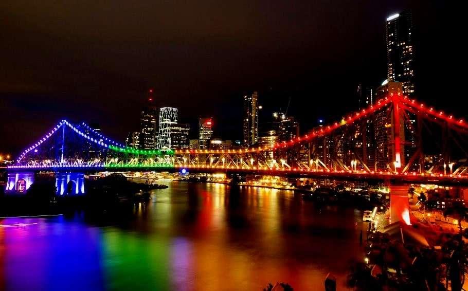 Brisbane Story bridge lit up in rainbow lights