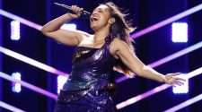 Jessica Mauboy on stage at Eurovision Song Contest 2018