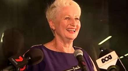 Kerryn Phelps celebrating victory in Wentworth by-election against the liberal party