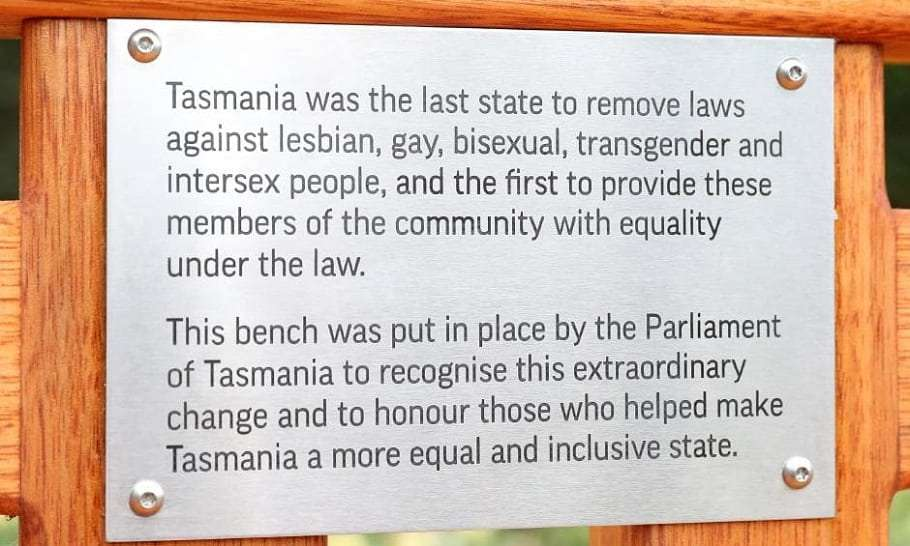 Tasmania lgbtiq equality memorial bench's plaque