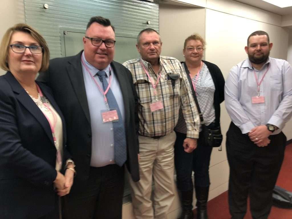 Kay Clifton, Miles Heffernan, Kym Rake, Catherine Black and Jamie Gardner-Hudson at today's inquiry. ir claims