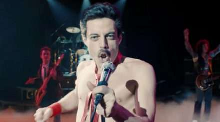 Rami Malek as Freddie Mercury in Bohemian Rhapsody.