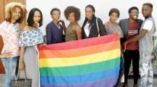 Angola LGBT community members rainbow flag Photo by Global Voices