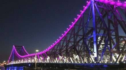Transgender flag colours brisbane story bridge