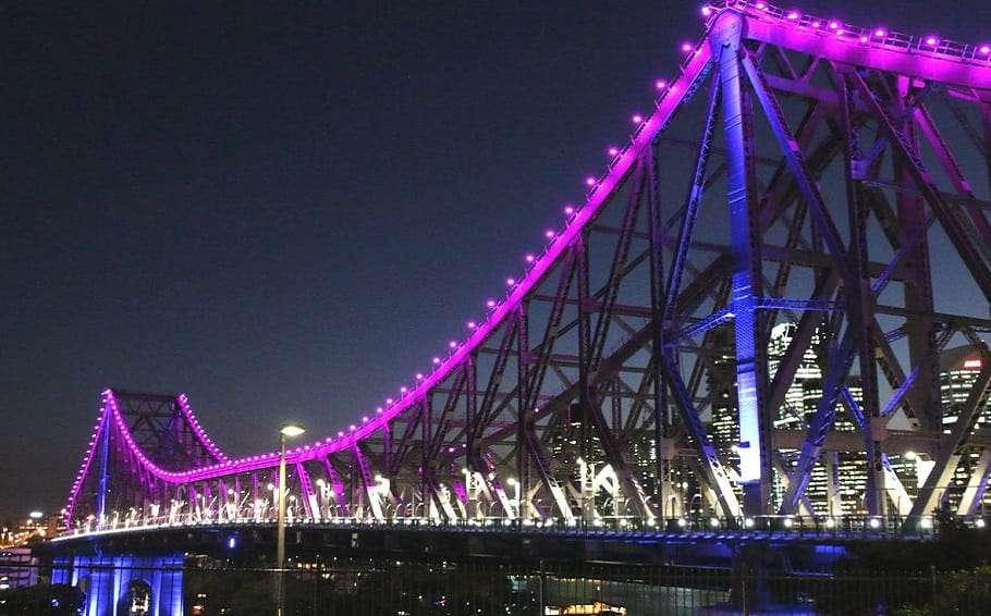Transgender flag colours brisbane story bridge