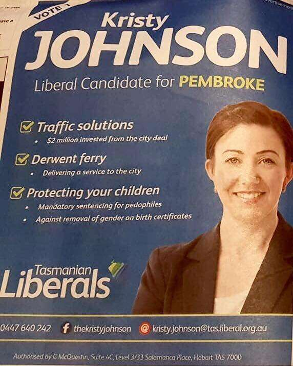 Kristy Johnson Tasmanian DEMONISE TRANSGENDER RIGHTS