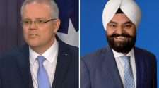 prime minister scott morrison and liberal candidate gurpal singh