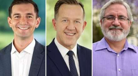 federal election 2019 brisbane Liberal MP Trevor Evans, Labor candidate Paul Newbury and Greens candidate Andrew Bartlett