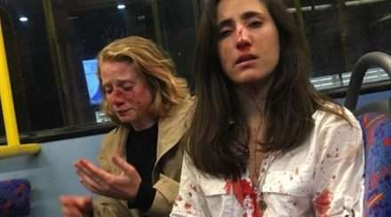 lesbian couple london bus gay bashed Melania Geymonat