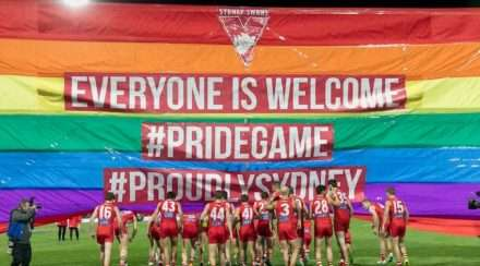 rainbow swans qatar airways sponsor afl pride game sydney swans