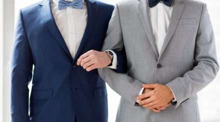 wedding grooms in suits stock photo gay couple coming out reddit