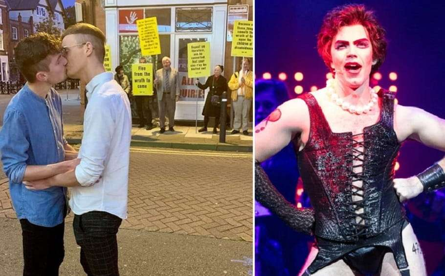 gay couple uk chester rocky horror show christian religious protesters
