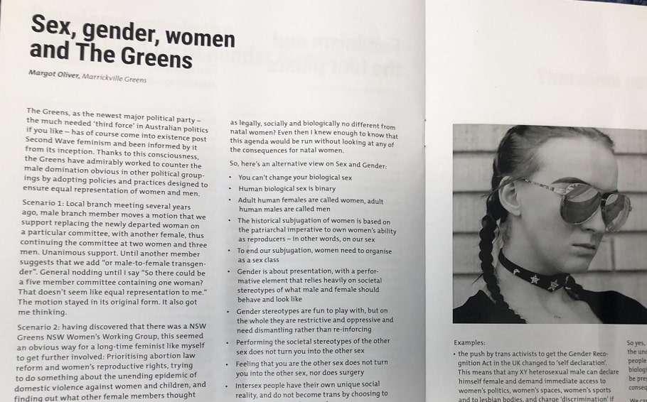 greens nsw transgender feminist transphobic sally rugg