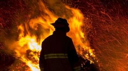 volunteer firefighters compensation stock photo bushfires