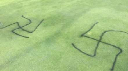 melbourne golf club swastikas homophobic graffiti