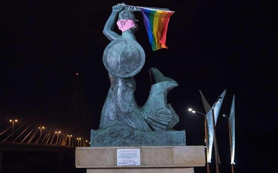 poland monuments rainbow pride flag