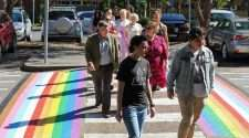 university of newcastle rainbow crossing rainbow flag pride week