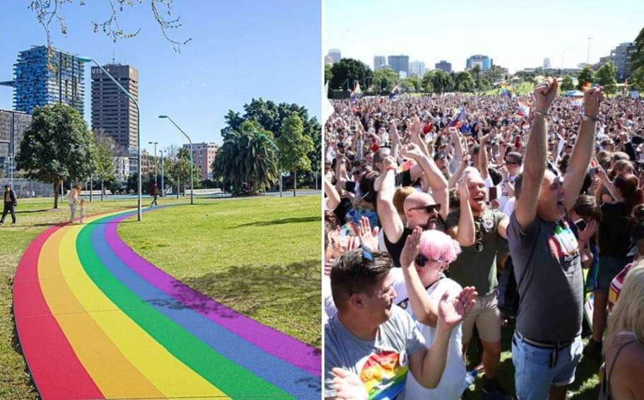 city of sydney rainbow path equality green surry hills yes marriage equality same-sex marriage clover moore