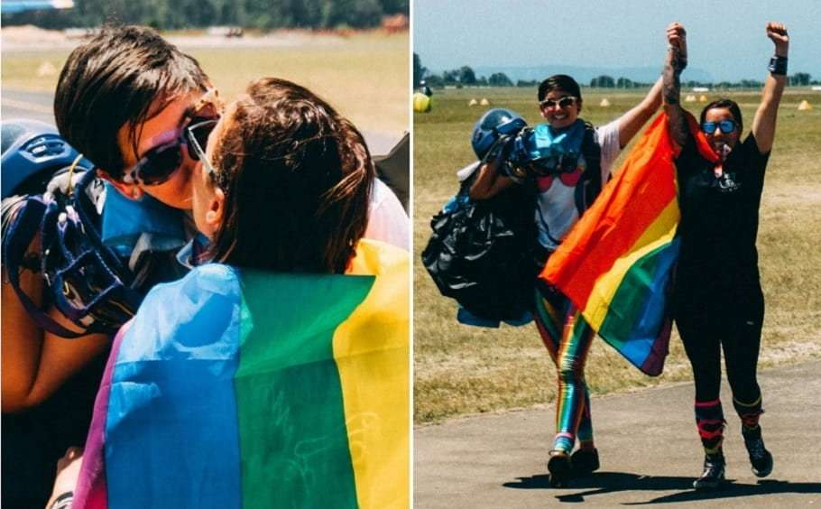 rainbow skydiving couple engaged