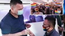 virgin australia pride flight gay couple marriage proposal