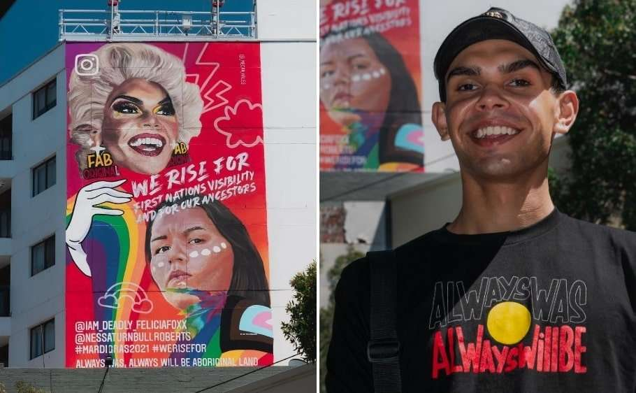 felicia foxx frst nations indigenous drag queen mural sydney mardi gras