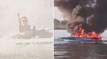 boat of homophobes bursts in flames washington pride flag