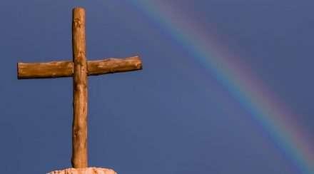 religion lgbtiq rainbow cross stock photo christians qut
