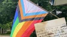 rainbow flag letter from lgbtq young person paris arkansas