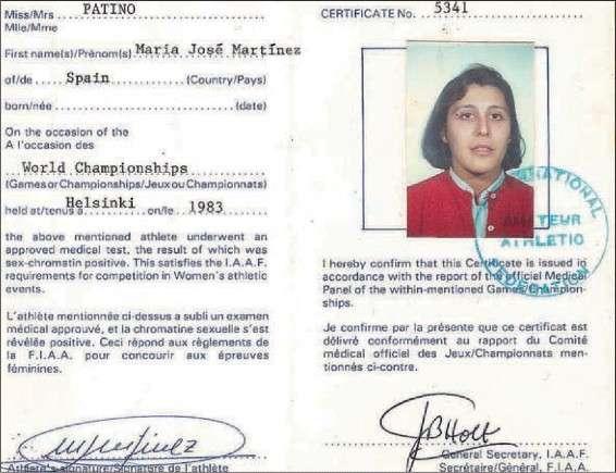 María José Martínez-Patiño Certificate of Femininity