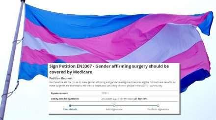 transgender flag stock photo medicare gender affirmation surgery petition